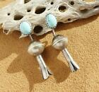 Native American Sterling Silver Turquoise Old Style Squash Blossom Earrings