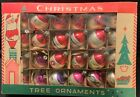 24 VINTAGE FEATHER TREE GLASS POLAND CHRISTMAS ORNAMENTS ROUND  TEARDROP
