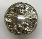 Antique Woodside Sterling Silver Nouveau Repousse Woman Fairy Glass Dresser Jar