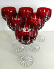AJKA ARABELLA RUBY RED CASED CUT TO CLEAR CRYSTAL WINE GOBLET Set of 6