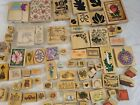 HUGE LOT of 76 Wood Mount Rubber Stamps  Some really Large Great Scrapbooking