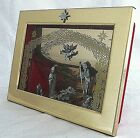 Christmas Nativity Musical Shadow Box Set Diorama Pewter Figures Frame Vintage