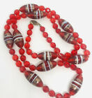 Beautiful Murano Sommerso Glass Beaded Necklace Red Crystals Vintage Jewelry