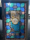 Antique English Handpainted Leaded Stained glass Window Circa 1880s