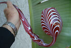 Antique vattractive pulled feather design ruby  white art glass whimsy pipe