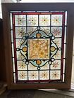 Antique English Handpainted Leaded Stained glass Window Victorian Era