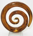 Murano Art Glass Abstract Sculpture Spiral Coil Shape Amber Glassware Clear Base