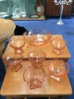 Vintage Retro Set Of 7 Peach Glass Fruit Dishes
