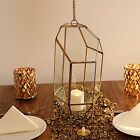 10 Inch tall Clear Gold Metal Geometric GLASS TERRARIUM Vase Wedding Centerpiece