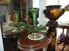 LOETZ ART NOUVEAU IRIDESCENT GREEN ART GLASS EPERGNE WITH ELECTRIC COLOR
