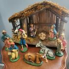 Vintage Italian Nativity Set With 9 Figures Wooden Creche Manger Made In Italy