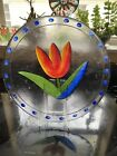 Kosta Boda Glass Plate with Tulip hand painted by Ulrica Hydman Vallien