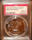PSA 9 MINT 9 - Mark McGwire 1991 Kenner Starting Lineup Coins Oakland Athletics