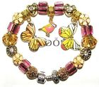 Authentic Pandora Silver Bracelet with BUTTERFLY BIRD PINK GOLD European Charms