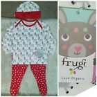 FRUGI BABY GIRL OUTFIT SET 3 6M ORGANIC COTTON BNWTS HAT TOP TROUSERS RED DEERS
