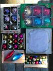 Lot of 5 boxes Shiny Brite Holly Glass USA Christmas Ornaments Vintage