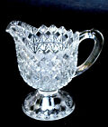 EAPG cream pitcher FINE CUT  BLOCK crystal King Son  Co 25 glass 1870s