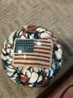 48 STAR Patriotic American Flag Glass Paperweight Red White Blue VINTAGE