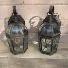Set Of Two Outdoor Wall Porch Lights Lamps Sconces Rustic Beveled Glass 120v 60w