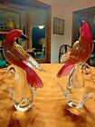 Pair of Vintage Murano Formia Purple Red with Gold Flecks Glass Bird Figurines