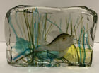 Murano Glass Cenedese Aquarium Block 1 Fish With Gold Flecks As is Condition