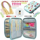 Coopay Knitting Needles Set 18 Pairs Circular Wooden Colored Tube Double Bamboo
