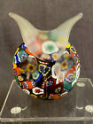 Millefiori And Frosted Glass Hand Blown Art Glass Owl Paperweight Figurine