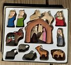 Vintage Lillian Vernon Wooden Christmas Nativity Manger 18 Piece Wood Set IOB
