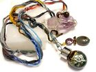 Unique Long Rainbow Wrapped Sterling crystal blown boro glass charm necklace B2