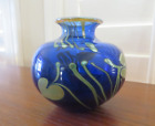 Vintage Glasshouse studio art glass cobalt signed COA Seattle Heart and Vine