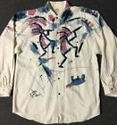 Vtg 90s Sarah Hand Painted Paint Splatter Shirt L Aztec Abstract Native Grunge