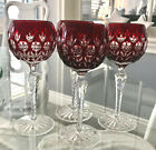 AJKA FLORDERIS RUBY RED CASED CUT TO CLEAR CRYSTAL 8 WINE GOBLETS Set of 4
