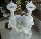 BEAUTIFUL ANTIQUE OPAL GLASS SWIRL BRIDES BOWL WITH PAIR JACK IN PULPIT VASES