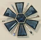 Vintage Large Silvertone Deep Blue Glass Cabochon Statement Brooch Round MCM Fun