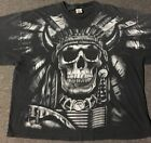 Vtg 90s Liquid Blue Native American Skull Faded Shirt 3XL Navajo Feathers Grunge