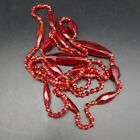 Vintage Art Deco Multi Faceted Red Glass Bead Flapper Necklace 54