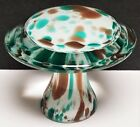 Vintage Murano Blue  Brown Art Glass Mushroom Toadstool Paperweight Italy 3