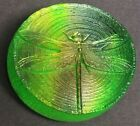 Vintage Signed ROBIN LEHMAN Green Dichroic Glass DRAGONFLY Paperweight 35