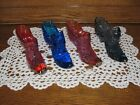 4 FENTON ART GLASS COLORED DECORATIVE HOBNAIL SHOE SLIPPERS CAT HEAD