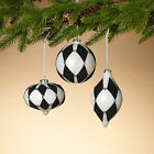 Black White Harlequin Ball Onion Finial Large Glass Ornament 45 Set 3