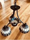 Hanging Tiffany Style Stained Glass 4 Light Chandelier Beautiful Colors 20 Inch