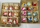 24 VINTAGE HAND PAINTED  GLITTERED CHRISTMAS ORNAMENTS POLAND DROPS INDENTS