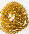 Long Art Deco Amber Glass Beaded Necklace 62in Flapper Length Vintage Jewelry