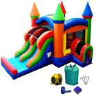 Open Box Commercial Inflatable Bounce House Slide With Blower Rainbow Dual Lane
