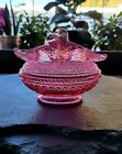 Vintage Westmoreland Lovebirds Deep Pink Glass Covered Dish With Lid Absolutely