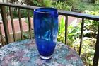 VINTAGE GLASS ART VASE BLUE 14 3 4 INCHES TALL NO RESERVE