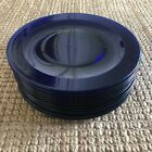 Set Of 12 Cobalt Blue Glass Large Plates Or Chargers 11 3 4 Inches Excellent