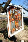 Handmade Stained Glass Cross Old Vintage 1910 Window Title Orange Blossom