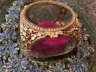 VTG MATSON BEVELED GLASS GILT GOLD RED VELVET ROSE BUD FOOTED JEWELRY CASKET BOX