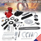 Red 80CC 2 Stroke Gas Motor Motorized Engine Bike Bicycle Moped Scooter Full Kit